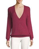 Cashmere-Blend Micro-Paillette V-Neck Boyfriend Sweater