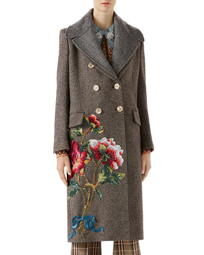 Sequin Embroidered Wool Coat