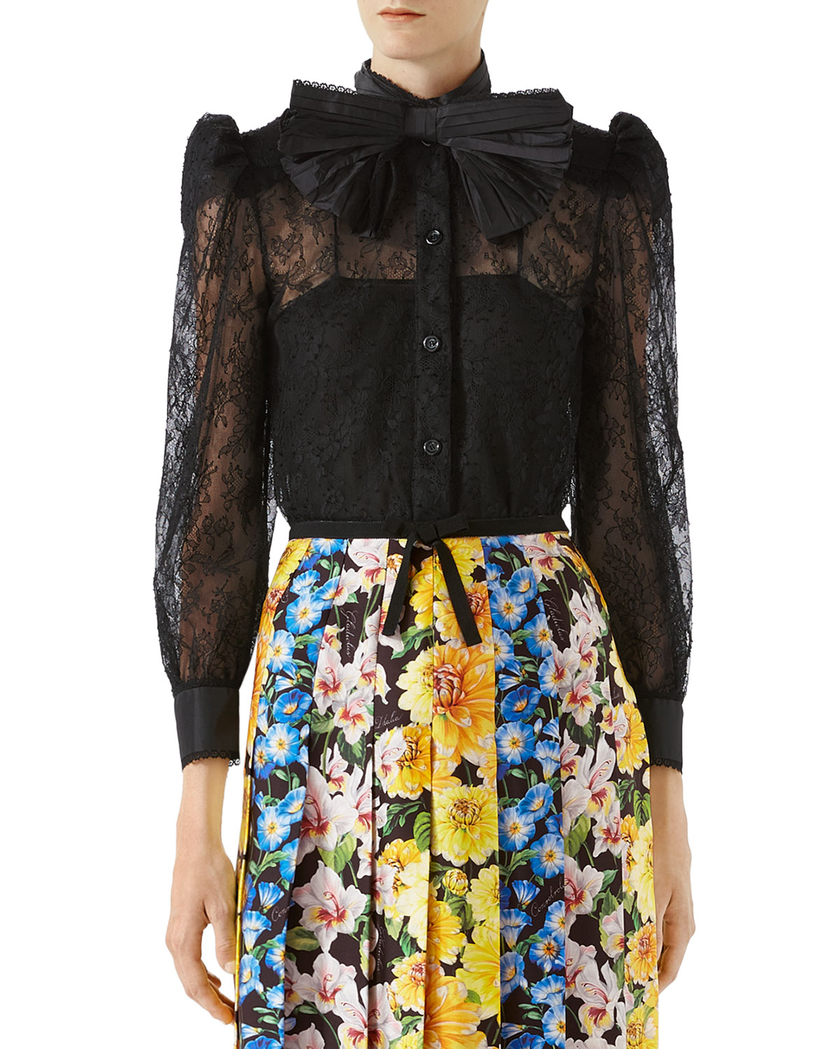 Chantilly Lace Shirt with Bow