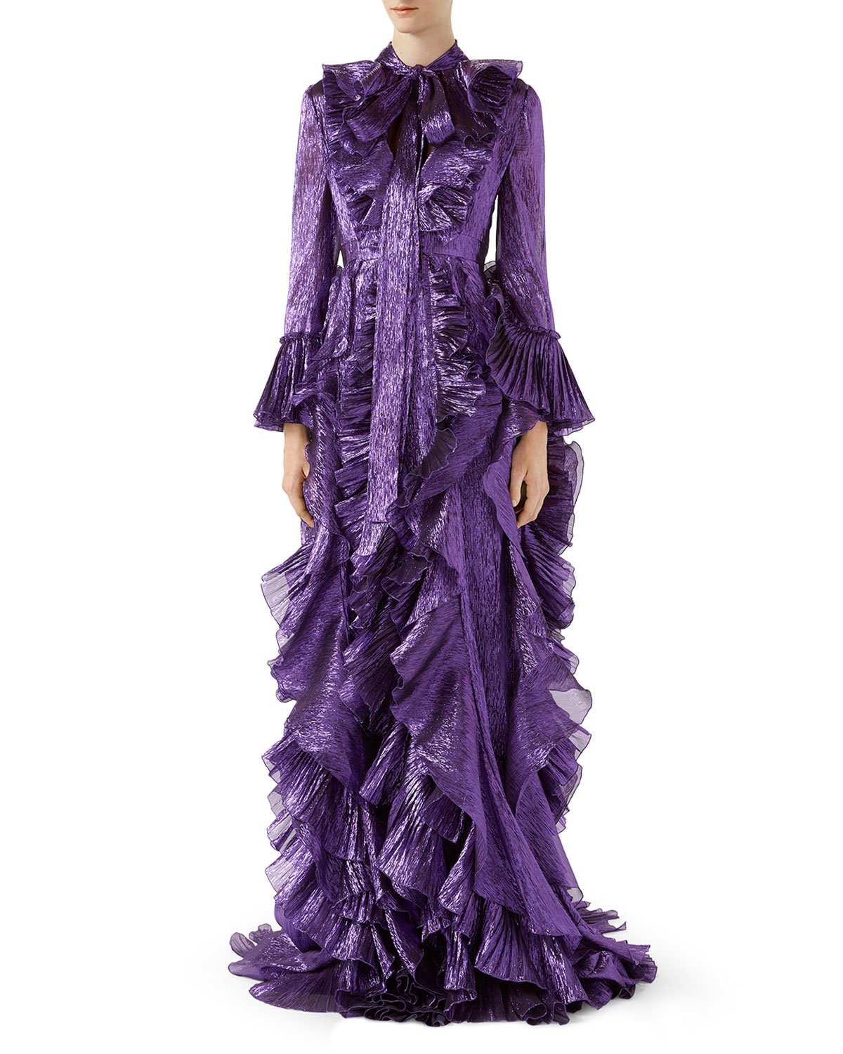 87ce0070c Iridescent Organdy Gown with Ruffles