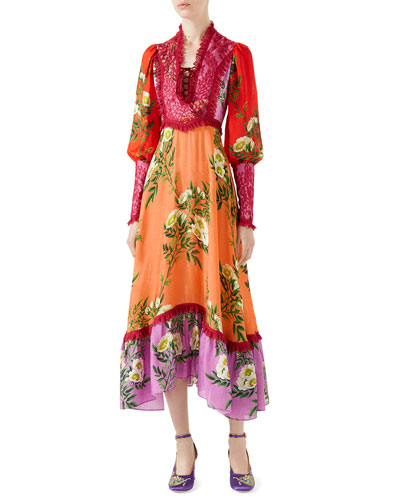 Rose Branches Printed Flower Jacquard Dress