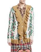 Intarsia Jacquard Flowers Wool Cardigan