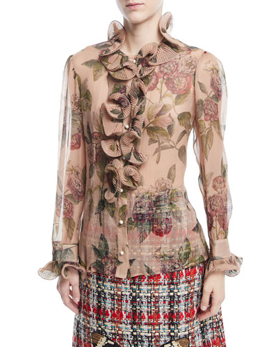 Botanical Roses Print Silk Shirt with Ruffles