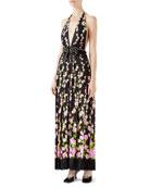 Flower Jacquard Dress with Climbing Roses Print