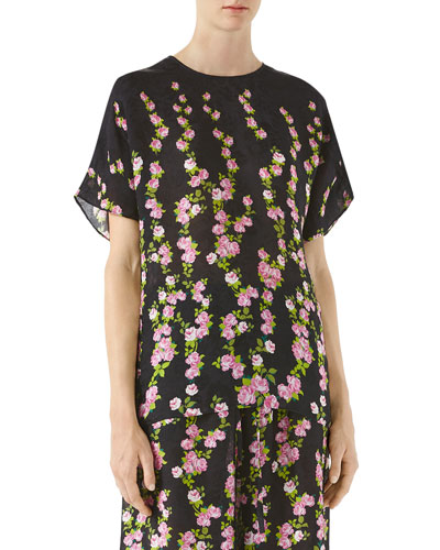 Silk Jacquard Short Sleeve Blouse, Black Pattern