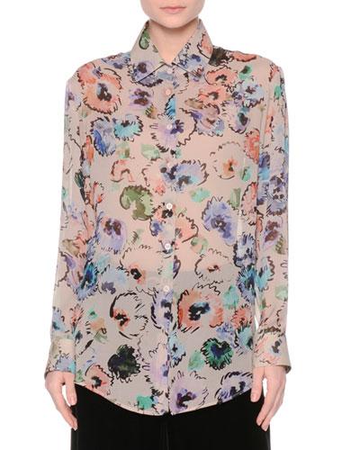 Floral Button-Front Blouse, Fantasia/Multi