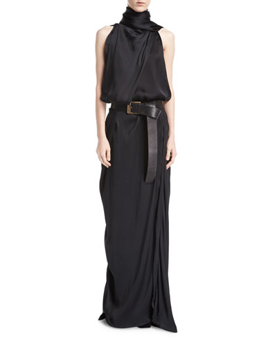 Silk Charmeuse Scarf Gown