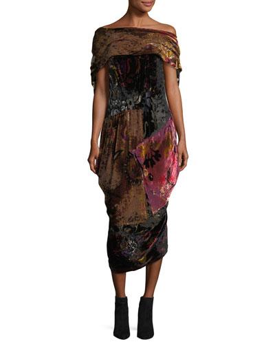 Velvet Collage Cocoon Dress