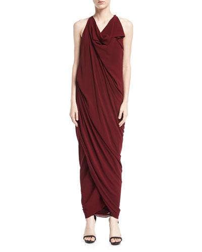 dress draped halter evening coco neck drapes navy jersey halterneck maxi