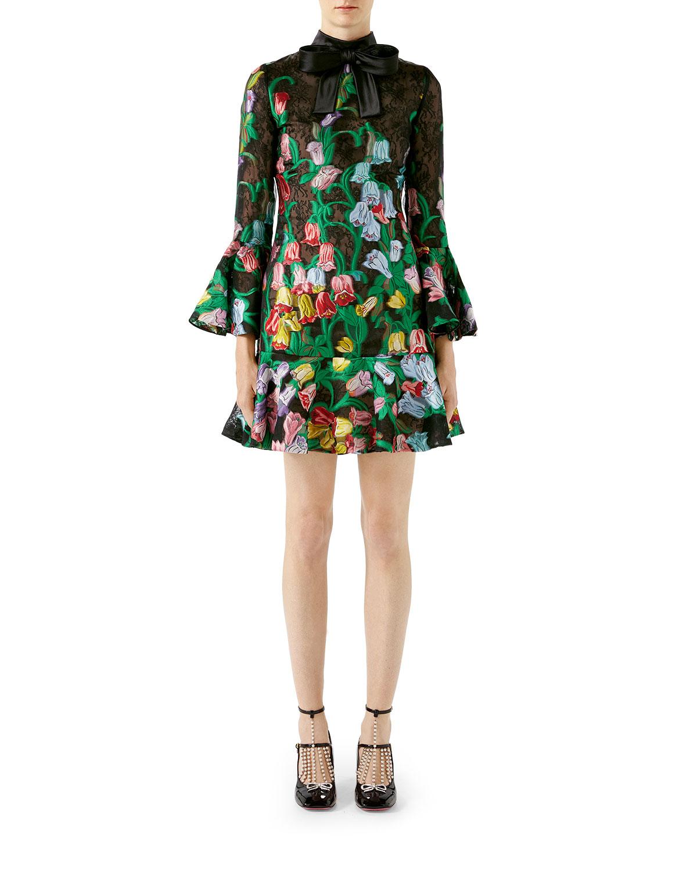 c5e347893 3/4-Sleeve Bouquet Organza Cocktail Dress