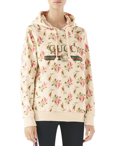 Rose Print Cotton Sweatshirt