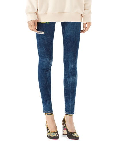 Embroidered Marbled Corduroy Skinny Pant