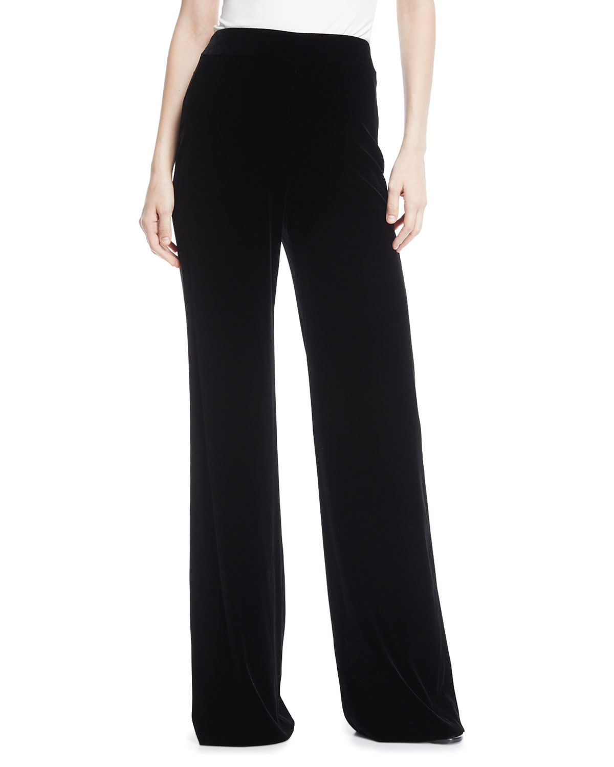 High-Waist Wide-Leg Velvet Pants