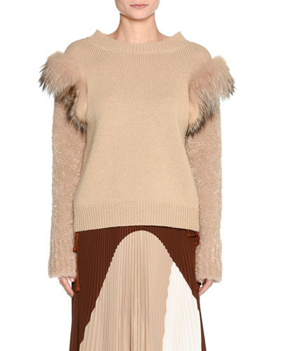 Knit Fur-Trim Sweater