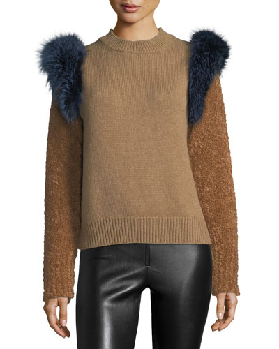 Colorblock Sweater with Fox Fur Trim