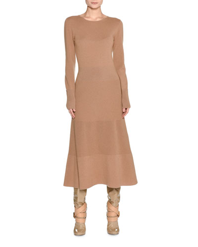 Long-Sleeve Cashmere Sweaterdress