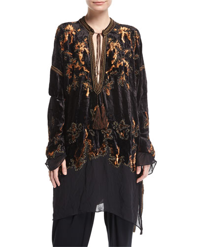 Embroidered Velvet Tassel-Tie Tunic