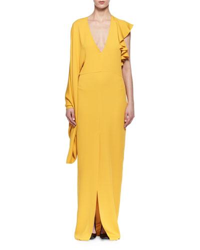 Silk Crepe Kimono-Sleeve Gown