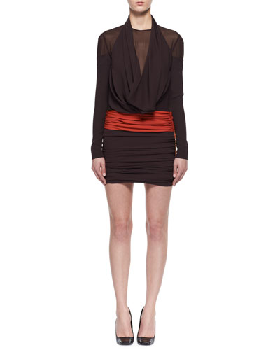 Colorblock Jersey Cowl-Neck Dress