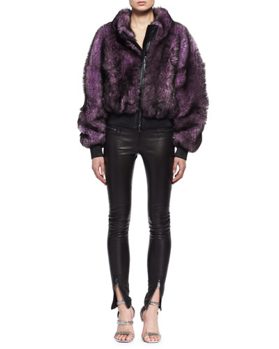 Dyed Lamb Shearling Fur Coat