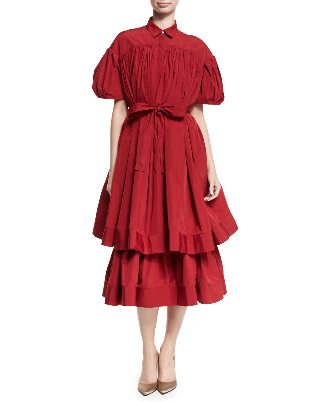 Danika Double-Layer Taffeta Midi Dress