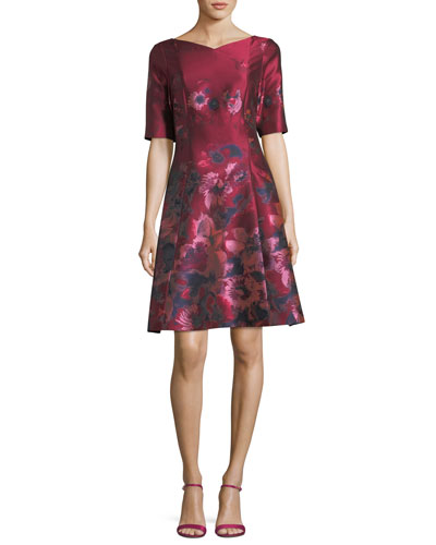 V-Neck Elbow-Sleeve Floral-Jacquard Dress