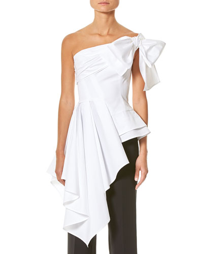 One-Shoulder Cascading Blouse