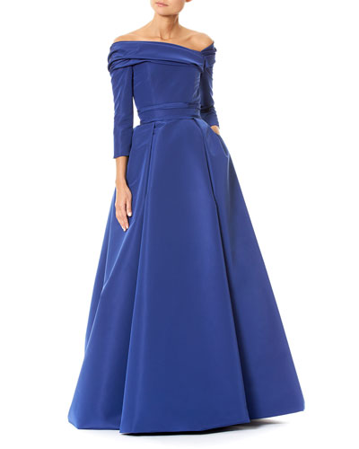 Pleated Off-the-Shoulder Faille Ball Gown
