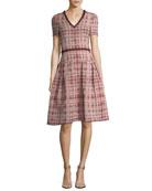 Tweed V-Neck A-Line Dress