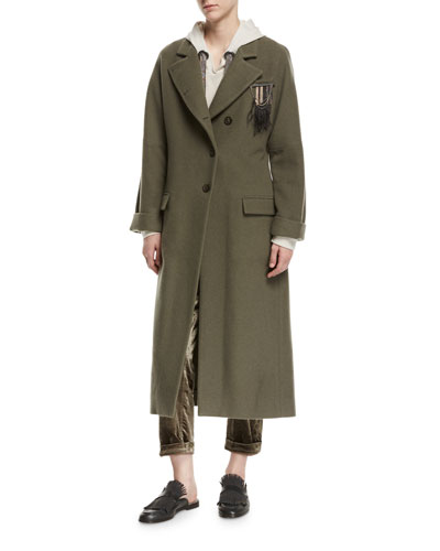 Cashmere Asymmetric-Button Military Coat