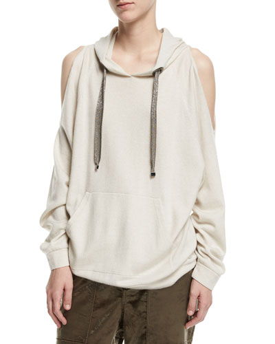Cold-Shoulder Cashmere Hoodie with Monili Drawstrings
