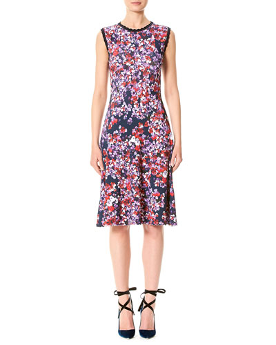 Sleeveless Pansy-Print Day Dress