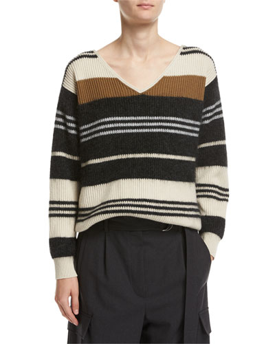 Striped Wool-Cashmere-Silk V-Neck Sweater