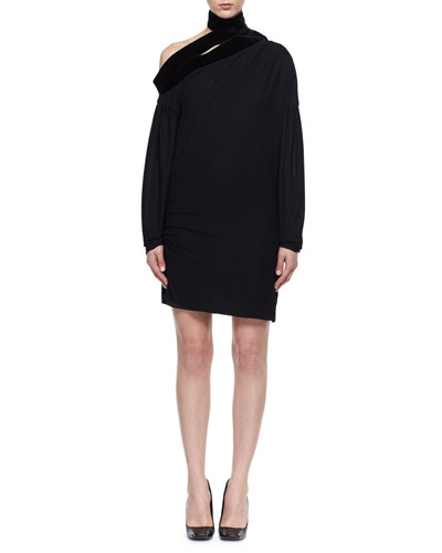 Long-Sleeve Sable Jersey Scarf Dress