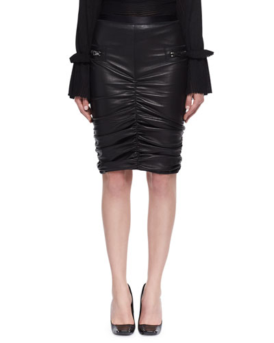 Ruched Stretch-Leather Skirt