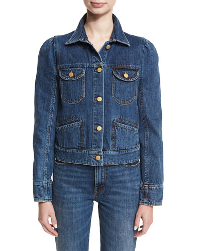 Puff-Shoulder Jean Jacket