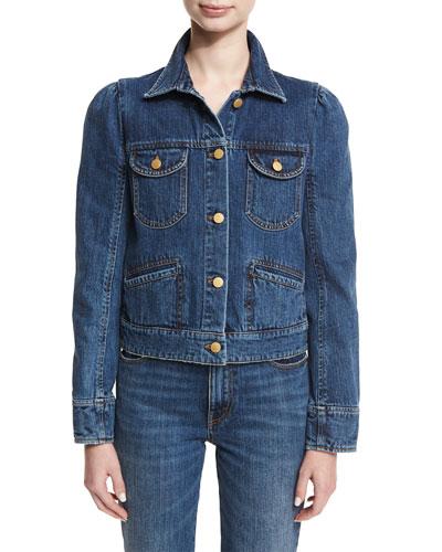 Puff-Shoulder Jean Jacket