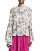 Mum-Print Silk Crepe Bell-Sleeve Top