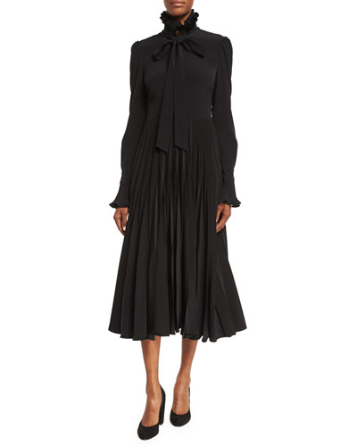 Reverse-Pleated Necktie Midi Dress, Black