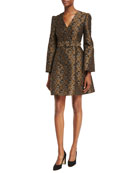 Floral Brocade Bell-Sleeve Fit & Flare Belted Minidress