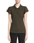 Lurex Cap-Sleeve Polo Shirt