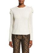 Floral-Knit Crewneck Sweater