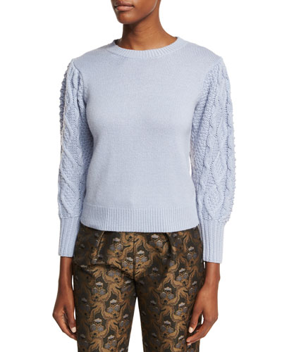 Cable-Sleeve Wool-Cashmere Pullover