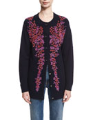 Floral-Beaded Wool-Cashmere Cardigan