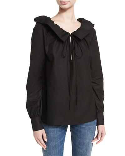 Cotton Sateen Ruffle-Neck Blouse