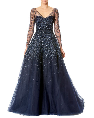 Sequined Illusion Tulle Ball Gown