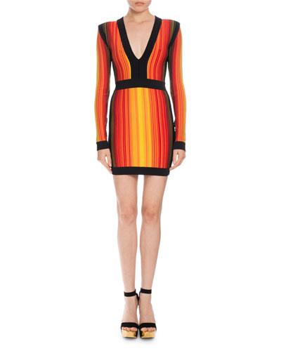 Striped V-Neck Long-Sleeve Mini Dress
