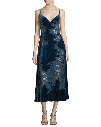 Velvet Lace-Inset Cocktail Slip Dress