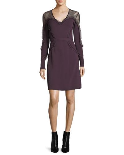 Ruffled Lace-Yoke Minidress