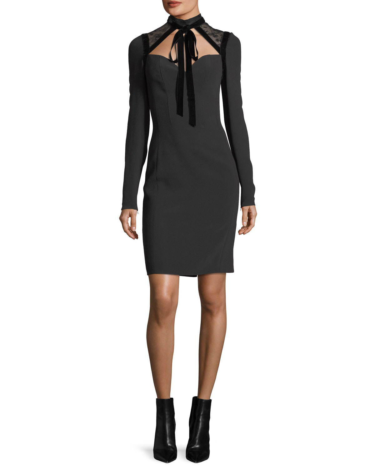 Cady & Velvet Necktie Cocktail Dress